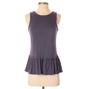 LOFT Purple Peplum Sleeveless Top